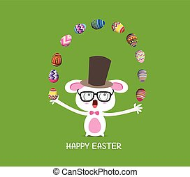 Happy easter. Circus catch rabbit
