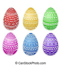 happy easter colorful eggs vector set, hand draw collection, stock vector illustration, eps 10