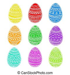 happy easter colorful eggs vector set, hand drawing collection, stock vector illustration, eps 10