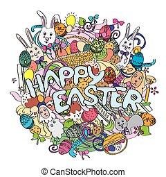 Happy Easter colorful illustration isolated on white background