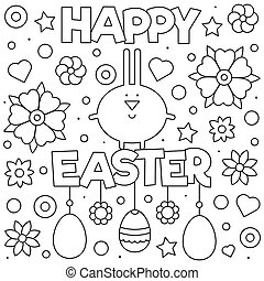 Happy Easter. Coloring page. Rabbit. Vector illustration.