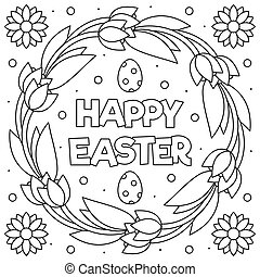 Easter wreath egg coloring page Royalty Free Vector Image   195x180