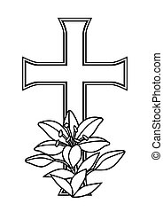 Happy Easter concept illustration. Cross and lilies.