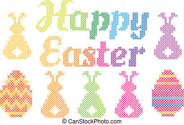 Happy Easter cross stitch, vector - Happy Easter with cross ...