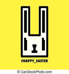 Happy Easter cute bunny rabbit icon