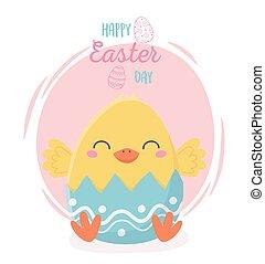 happy easter cute chicken in eggshell celebration