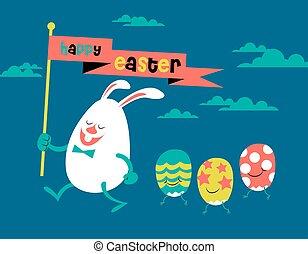 happy easter, cute illustration, bunny & eggs