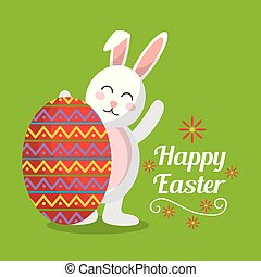 happy easter cute rabbit with big egg decorated greeting card