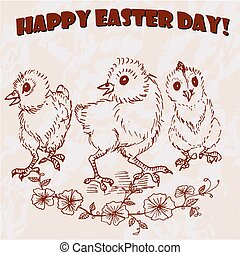 Happy Easter Day hand drawn card