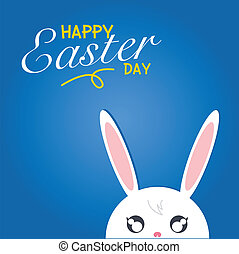 Happy easter day. Rabbit white on blue background with happy...