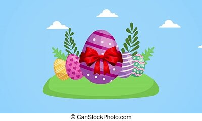 happy easter day with eggs painted scene ,4k video animated