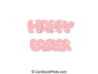 Happy Easter Design isolated on White Background. Vector illustr