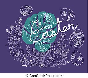 Happy Easter design of flowers and rabbit in the garden on violet background