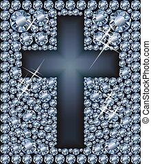 Happy Easter diamond cross, vector illustration