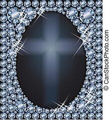 Happy Easter diamond egg card, vector illustration