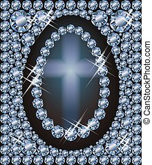Happy Easter diamond egg invitation wallpaper, vector illustration