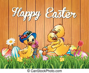 Happy Easter duck family on the grass