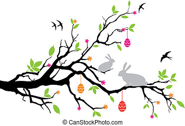 happy easter - easter bunnies sitting on a spring tree, ...