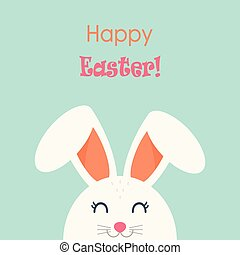Happy Easter. Easter Bunny on a blue background with an inscription. Card. Vector.