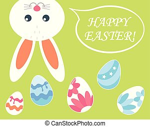 Happy Easter. Easter Bunny with colored eggs. Vector.