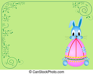 happy easter - Easter card with funny rabbit holding...
