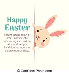 Happy Easter. Easter cartoon bunny is looking out of the hole and holding the text place.