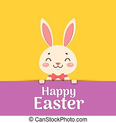 Happy Easter. Easter cartoon smiling bunny in a red bow tie is looking out of the hole and holding the text place.