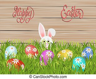 Happy easter. Easter colored eggs with a pattern of daisies in the grass. Rabbit on wood texture background. illustration