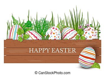 Happy Easter. Easter colorful eggs in row in brown wooden crate with cooking herbs. box with simple ornaments.