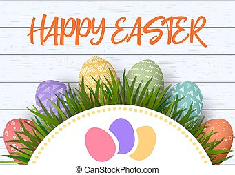 Happy Easter. Easter colorful eggs in row with abstract simple ornaments. white wooden background and floral frame. vector