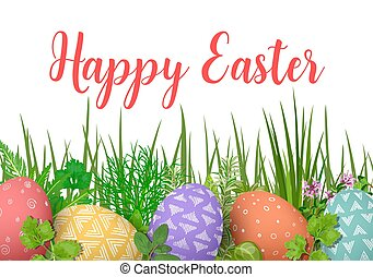 Happy Easter. Easter colorful eggs in row with different simple ornaments. white wooden background and floral frame