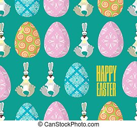 Happy Easter. Easter seamless pattern. Traditional eggs. Rabbit ornament. Festive background for Easter. Painted, decorated eggs. Hare for holiday