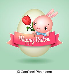 Happy Easter Egg Banner with Cute Easter Bunny Holding Tulip Flower