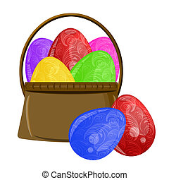 Happy Easter Egg Basket with Scroll Design