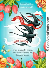 Happy Easter, Egg Hunt card with egg, flower, bird