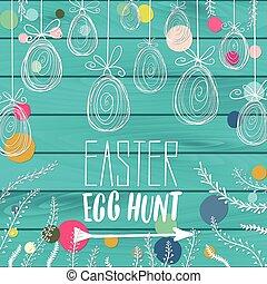 Happy Easter Egg Hunt holiday celebration card