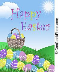 Happy Easter egg hunt with basket