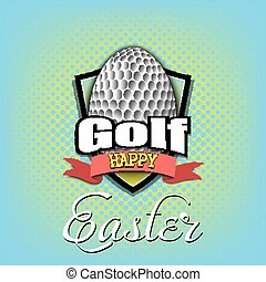 Happy Easter. Egg in the form of a golf ball