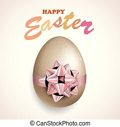 Happy Easter Egg With Bow