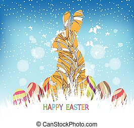 happy easter eggs and bunny winter background