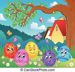 Happy Easter eggs illustration.