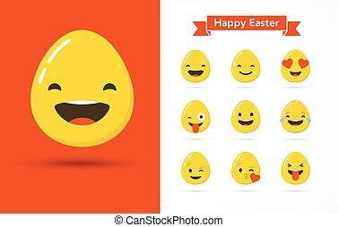Happy Easter eggs emoticons, emoji set, greeting card