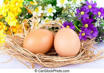 Happy Easter eggs flowers