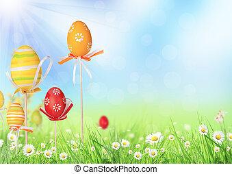 Happy Easter eggs in meadow