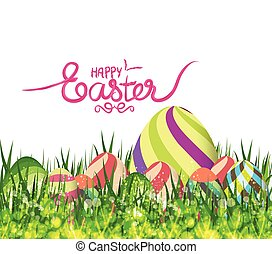 happy easter eggs spring background with grass