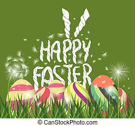 Happy easter eggs. Spring background with white dandelions
