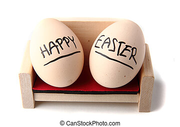 happy easter eggs resting on the white background