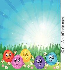 Happy Easter eggs theme illustration.