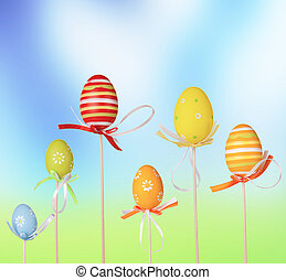 Happy Easter eggs with blur floral background
