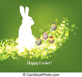 Happy easter eggs with fresh green